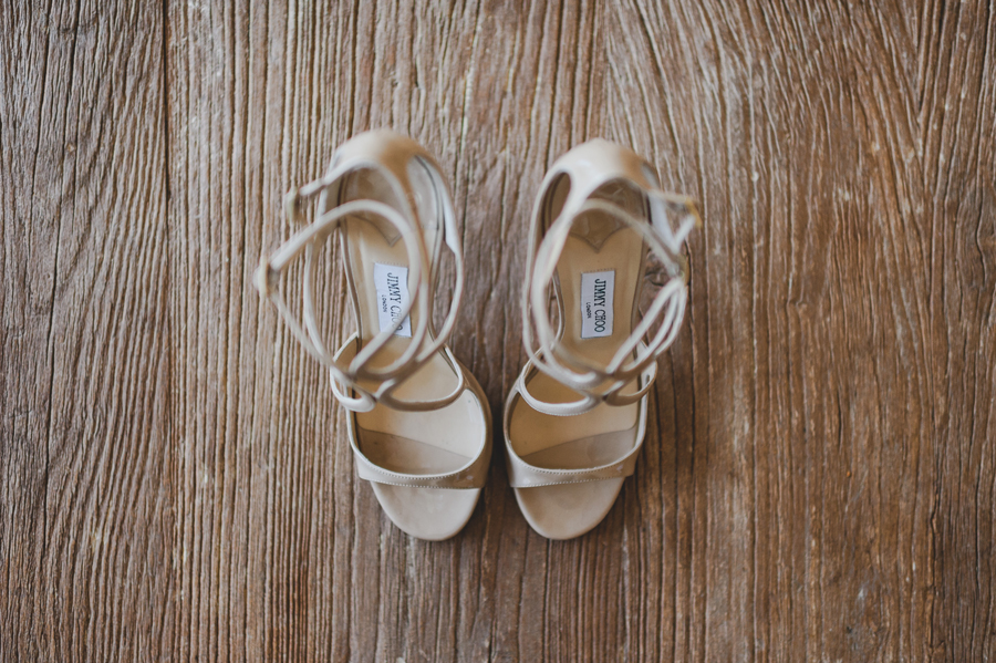 Jimmy Choo bridal shoes on a warm background