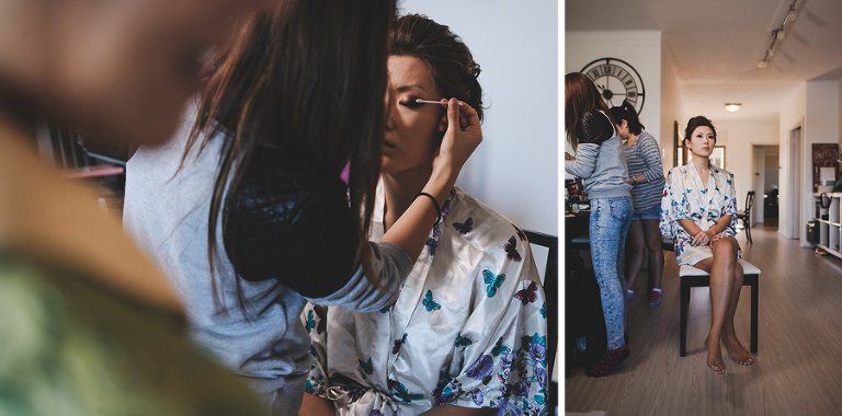 Hilary Ho Makeup touches up the bride before her Sydney wedding