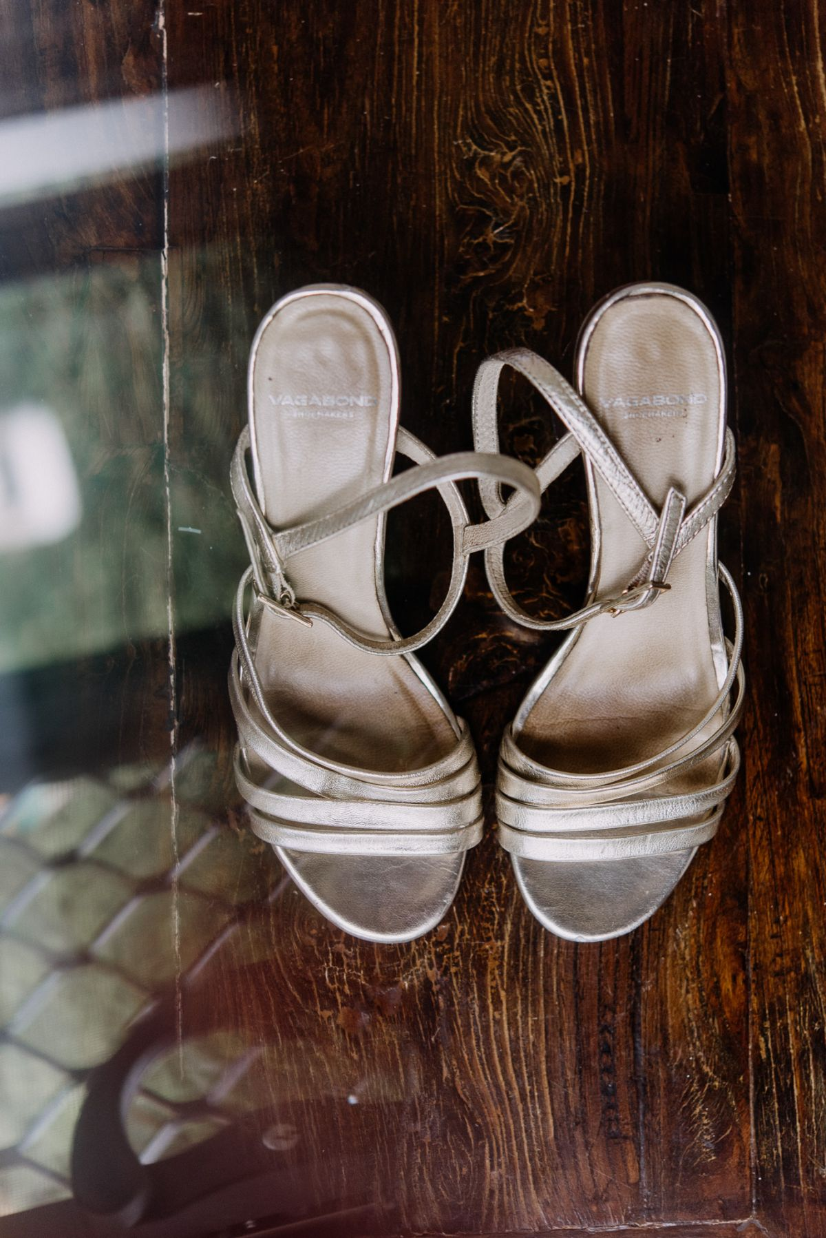 Bride's shoes and wedding details at morning preparation