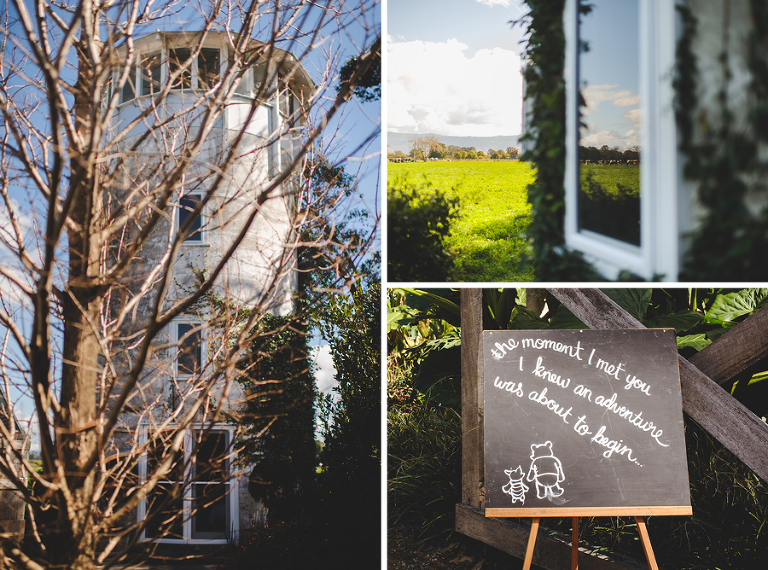 The silo and wedding details at Merribee House, South Coast NSW
