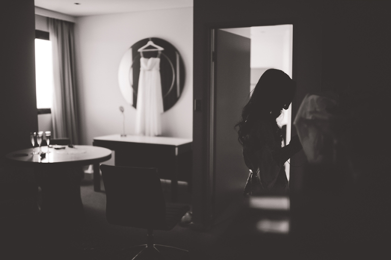Bride and bridal gown at the Meriton in Sydney