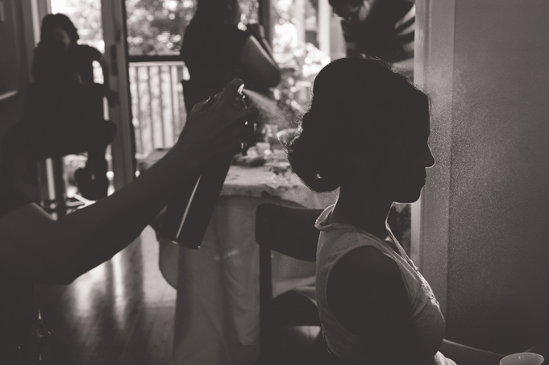 The bride has her hair done in Beverly Hills Sydney