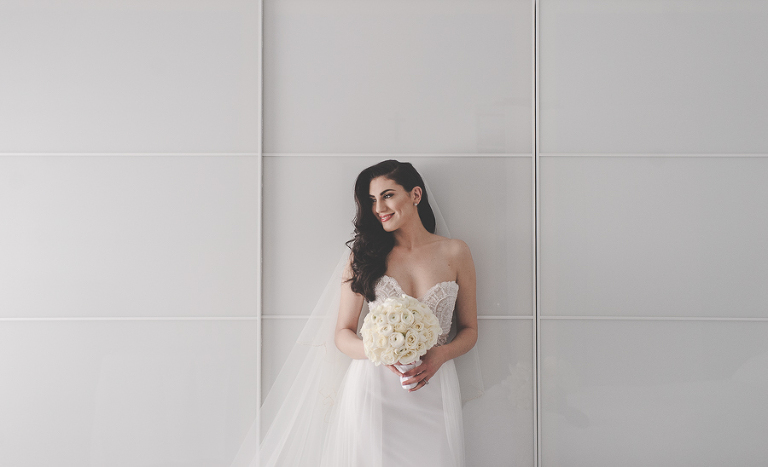 Gorgeous bride Christina, a portrait before her wedding at St Peter Chanel