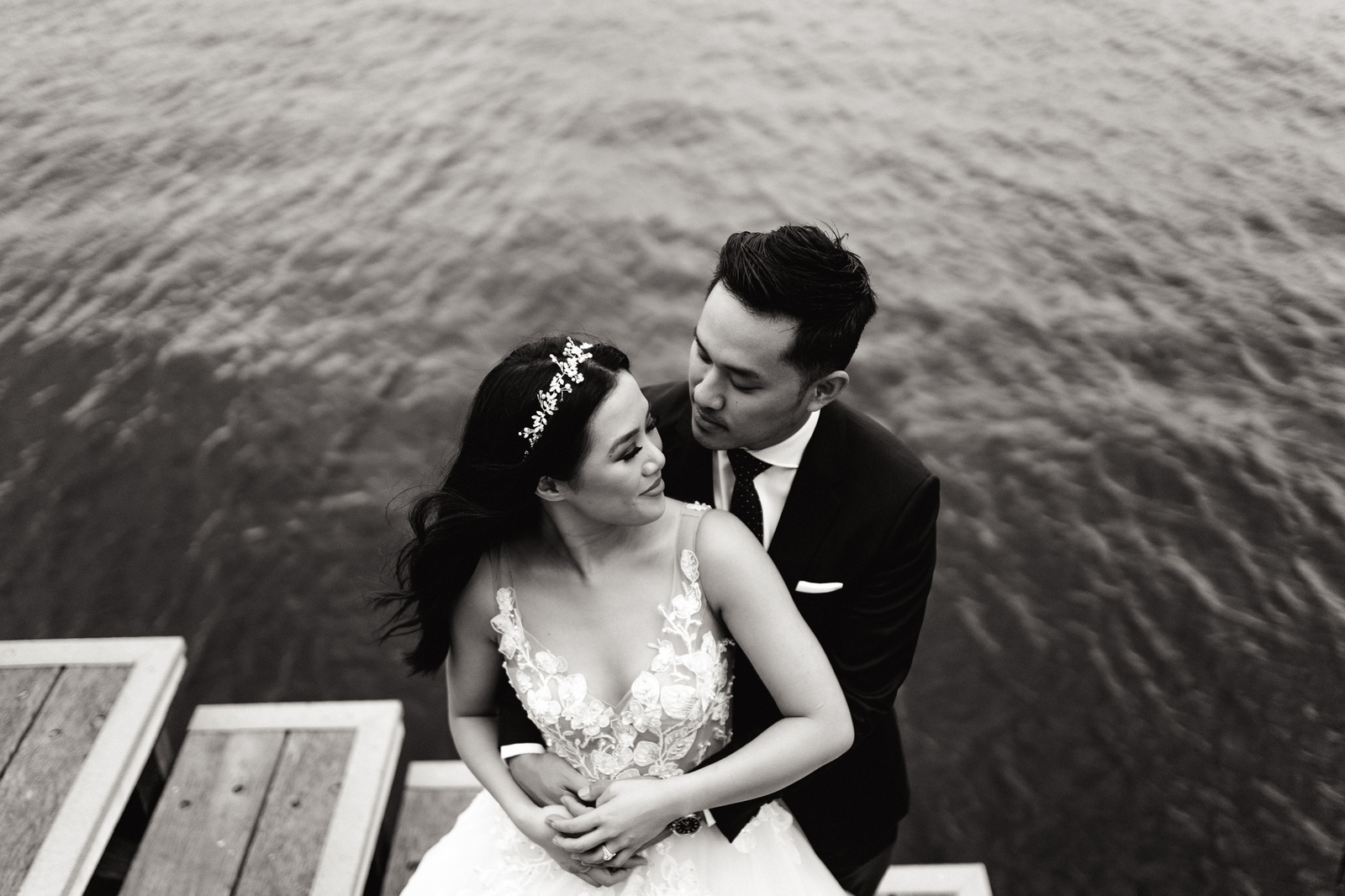 Melissa and Chris with a harbour backdrop at Jones Bay Wharf